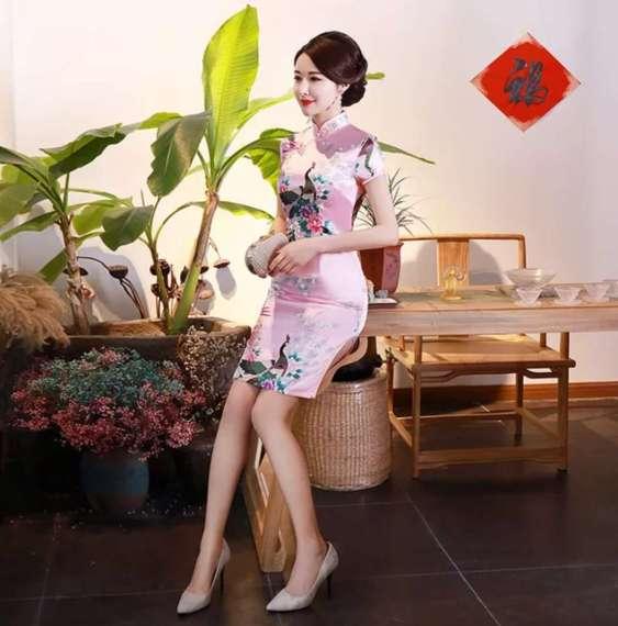旗袍连衣裙绸缎印花宴会女装