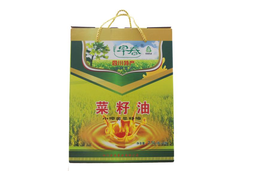 早春牌黄菜籽油食用油2.5L(2瓶装)四川特产非转基因小榨黄菜籽油
