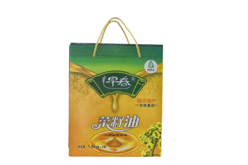 早春牌黄菜籽油食用油1.8L(2瓶装)四川特产非转基因小榨黄菜籽油